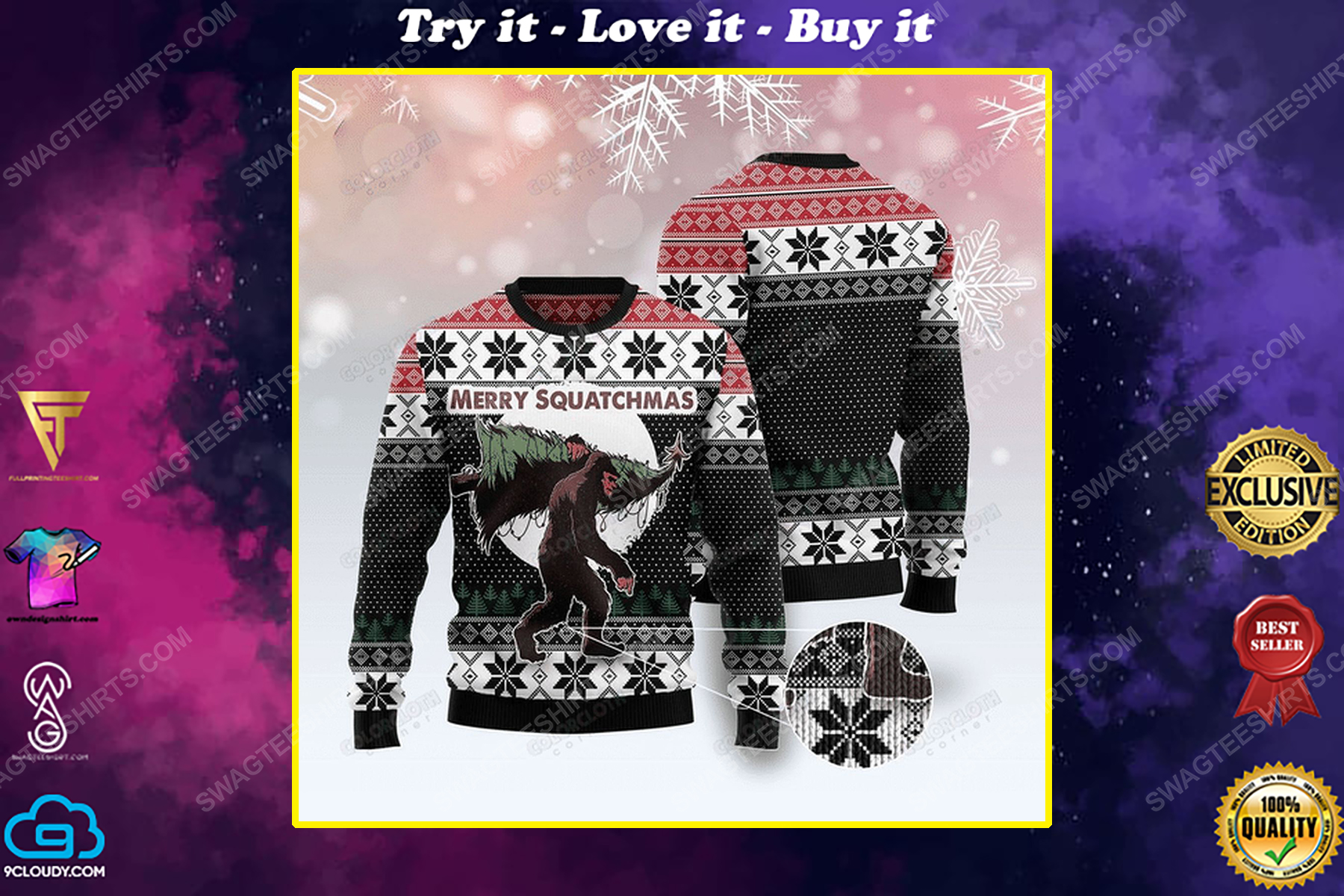 Bigfoot merry squatchmas christmas tree ugly christmas sweater 1