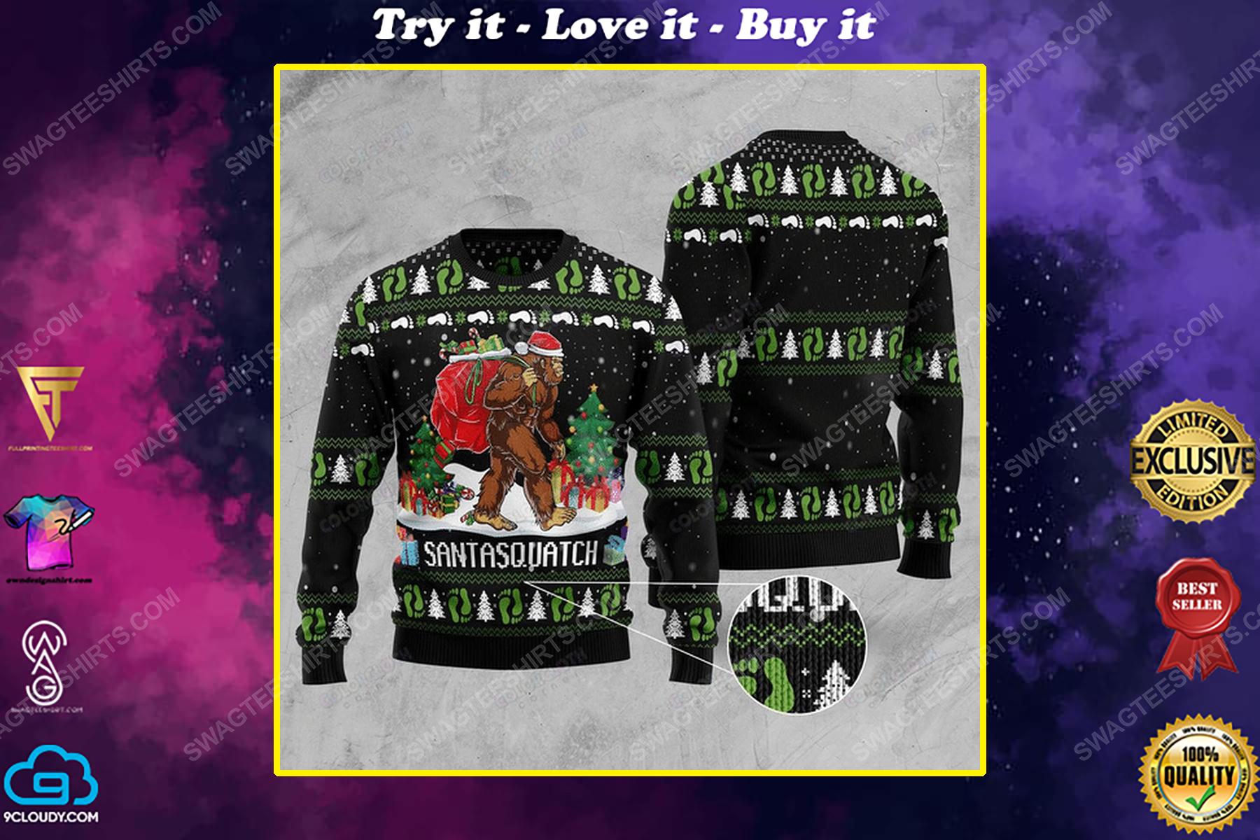 Bigfoot santasquatch ugly christmas sweater 1