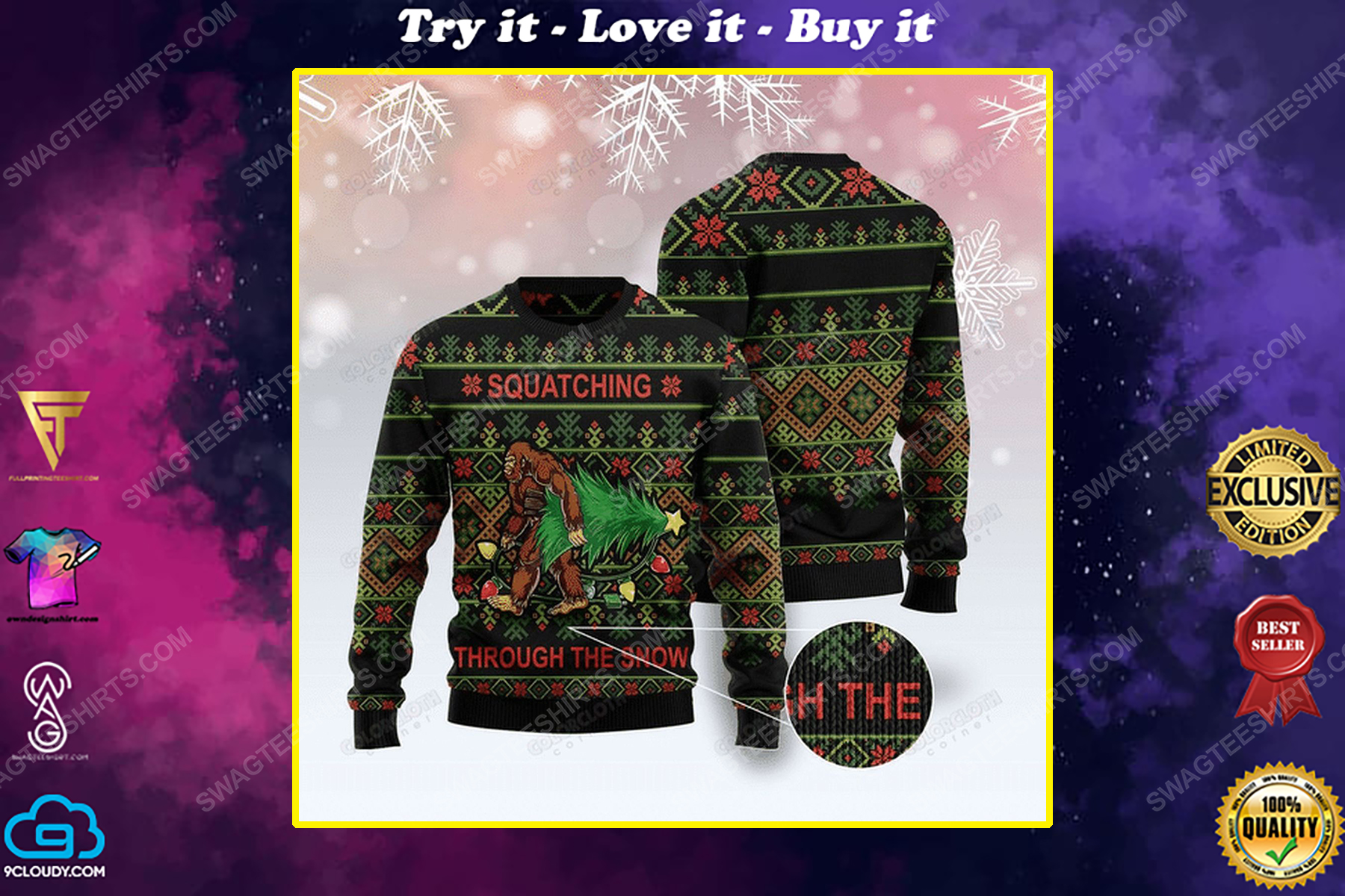 Bigfoot squatching through the snow ugly christmas sweater 1