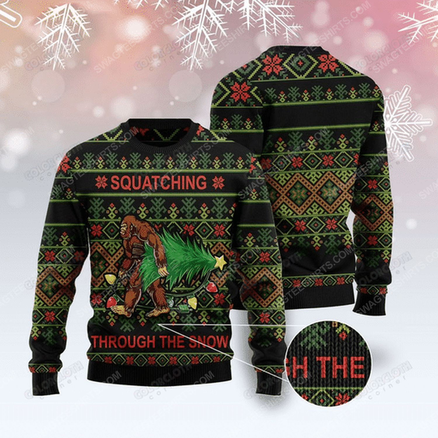 Bigfoot squatching through the snow ugly christmas sweater - Copy (2)