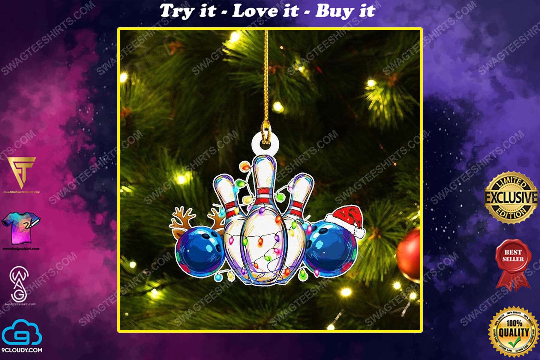 Bowling and christmas light christmas gift ornament