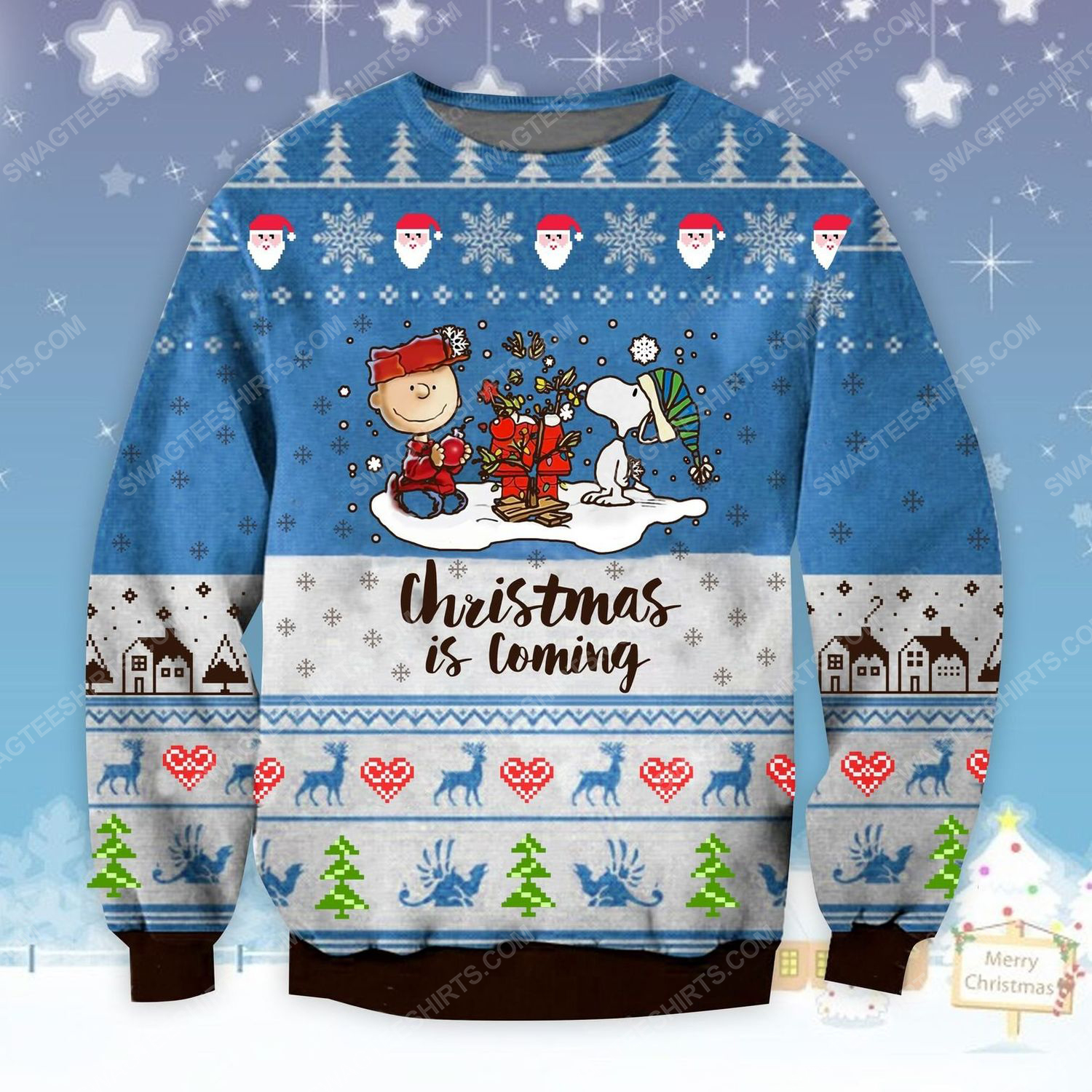 Charlie brown and snoopy christmas is coming ugly christmas sweater