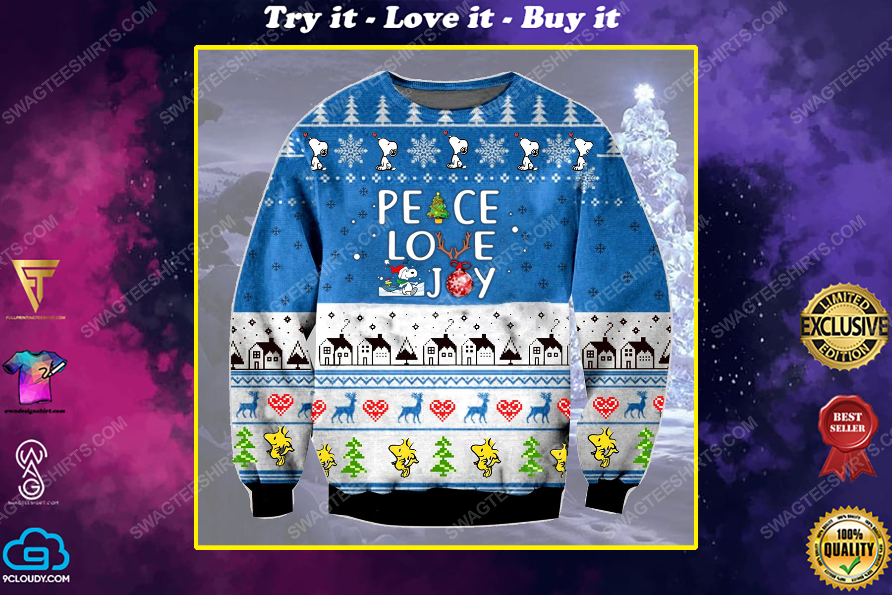 Charlie brown and snoopy peace love joy ugly christmas sweater 1