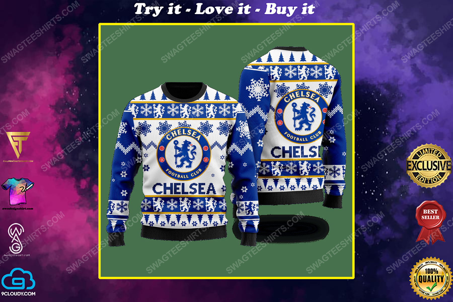 Chelsea football club ugly christmas sweater 1