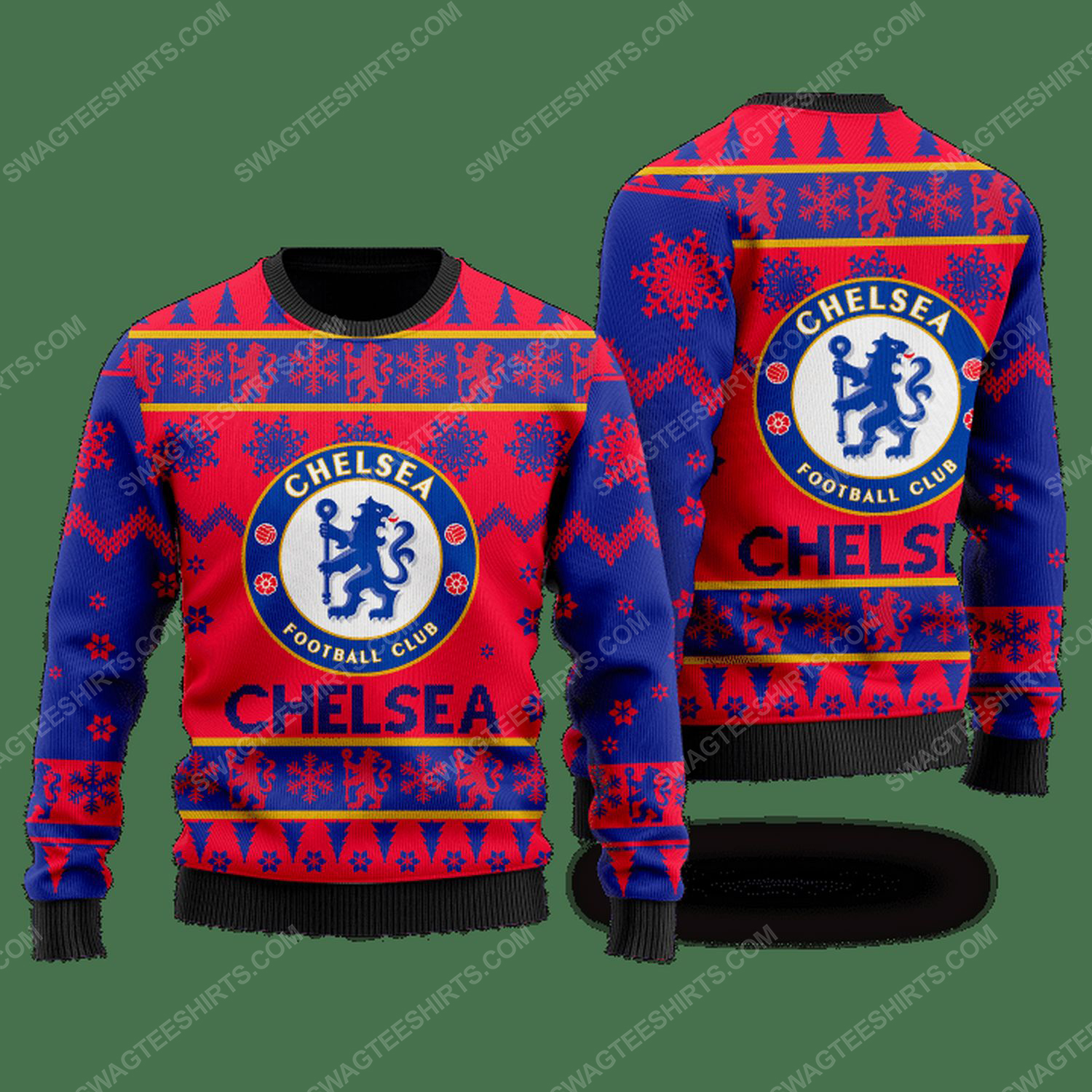 Chelsea football club ugly christmas sweater - red - Copy