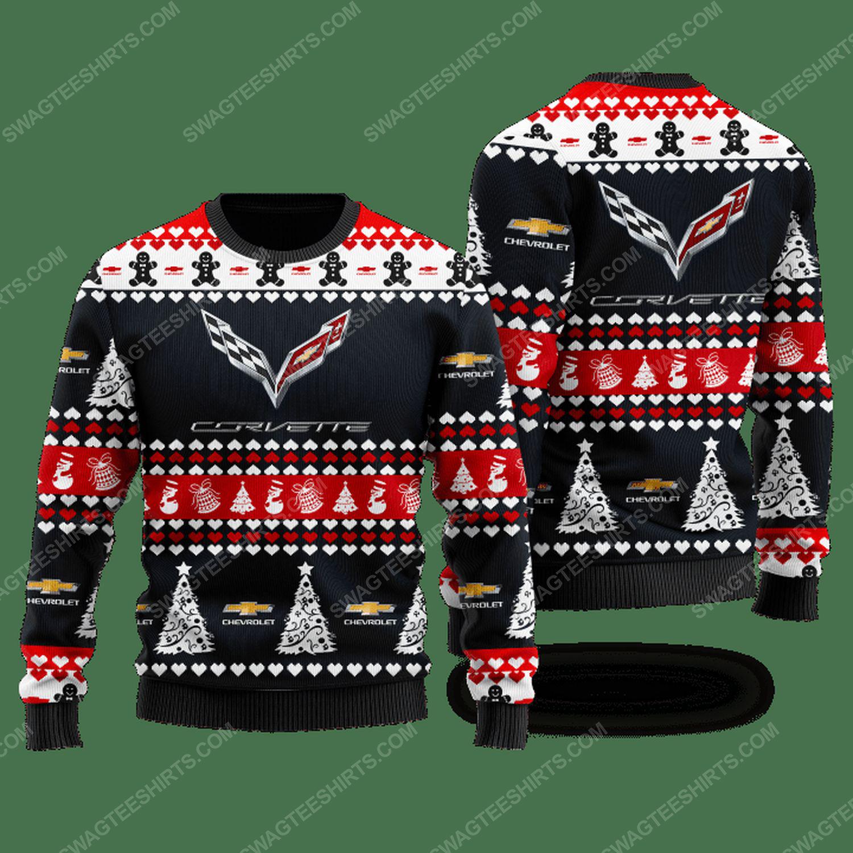 Chevrolet corvette racing car ugly christmas sweater - black