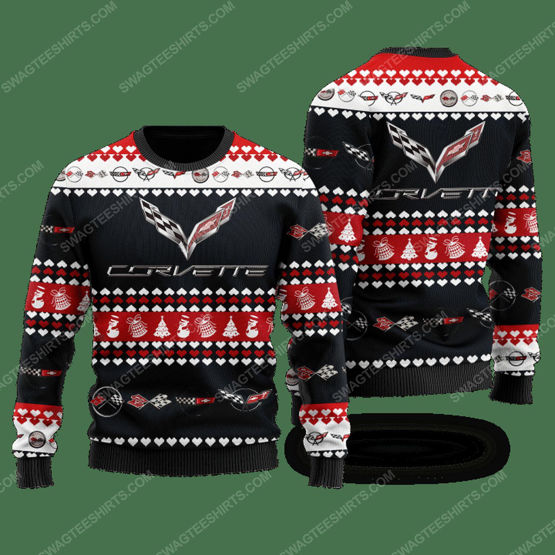 Chevrolet corvette racing ugly christmas sweater - black