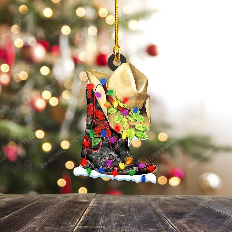 Cowgirl and christmas light christmas gift ornament