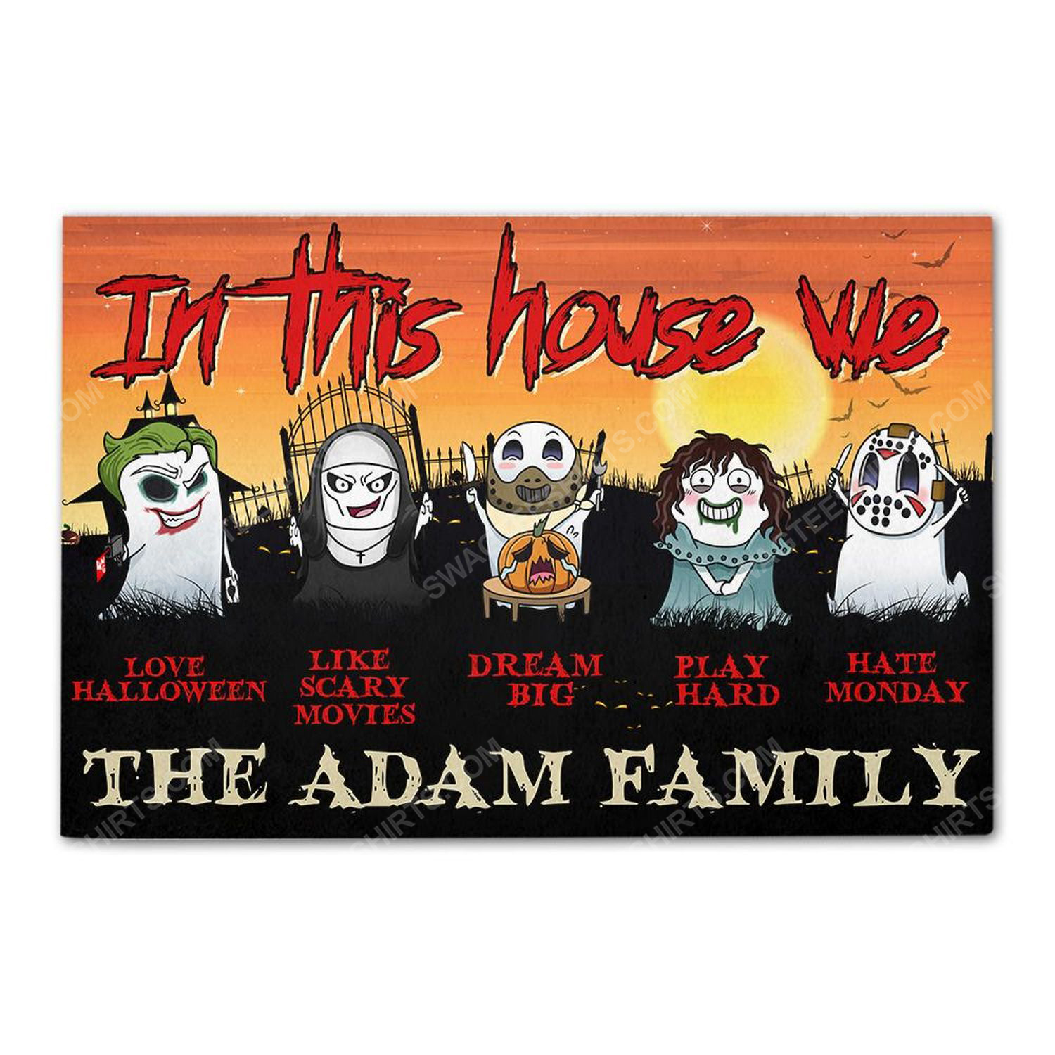 Custom for family in this house we love halloween doormat 3