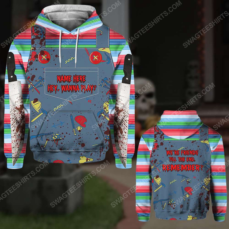 Custom halloween bloody chucky hey wanna play hoodie