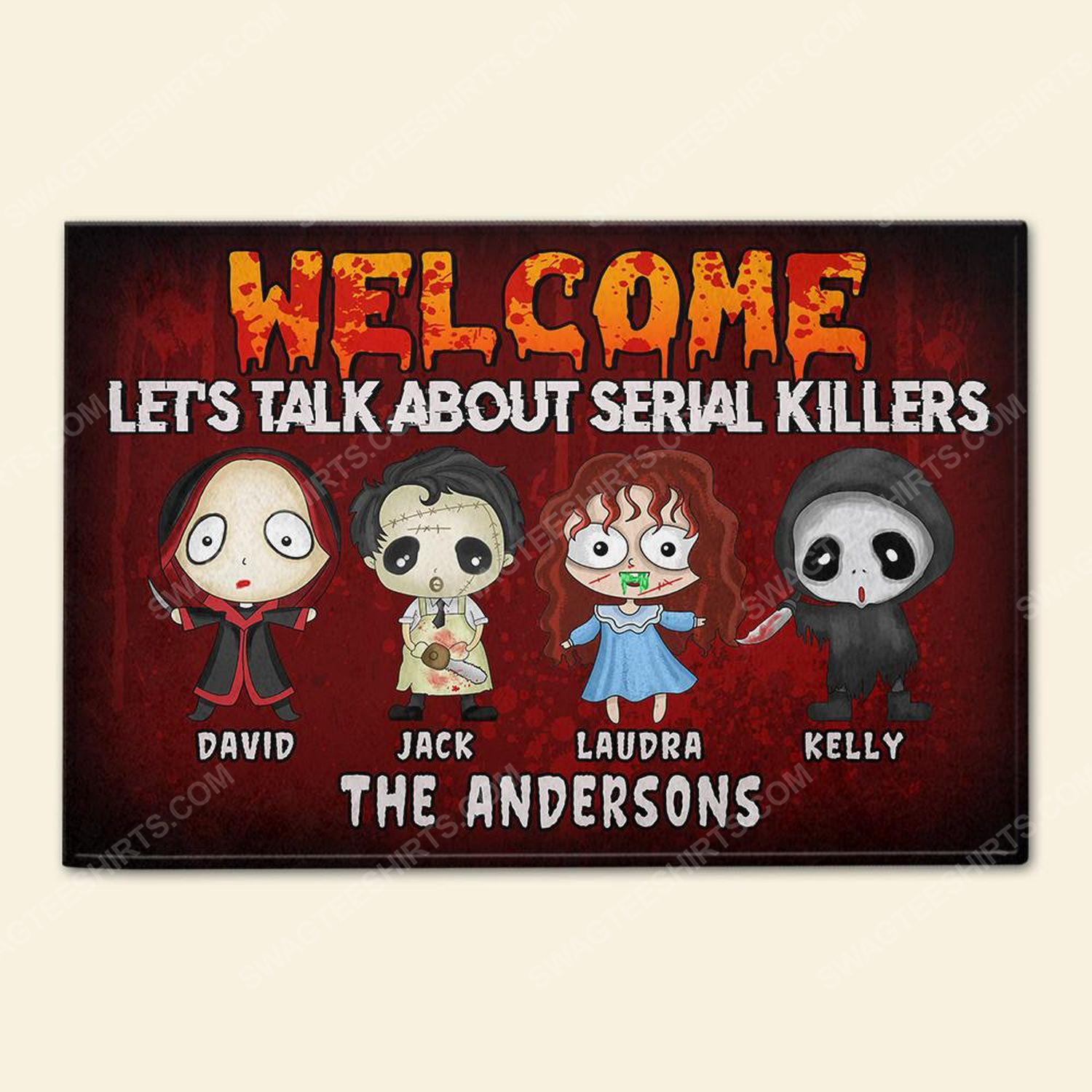 Custom halloween for family let's talk about serial killers doormat 2