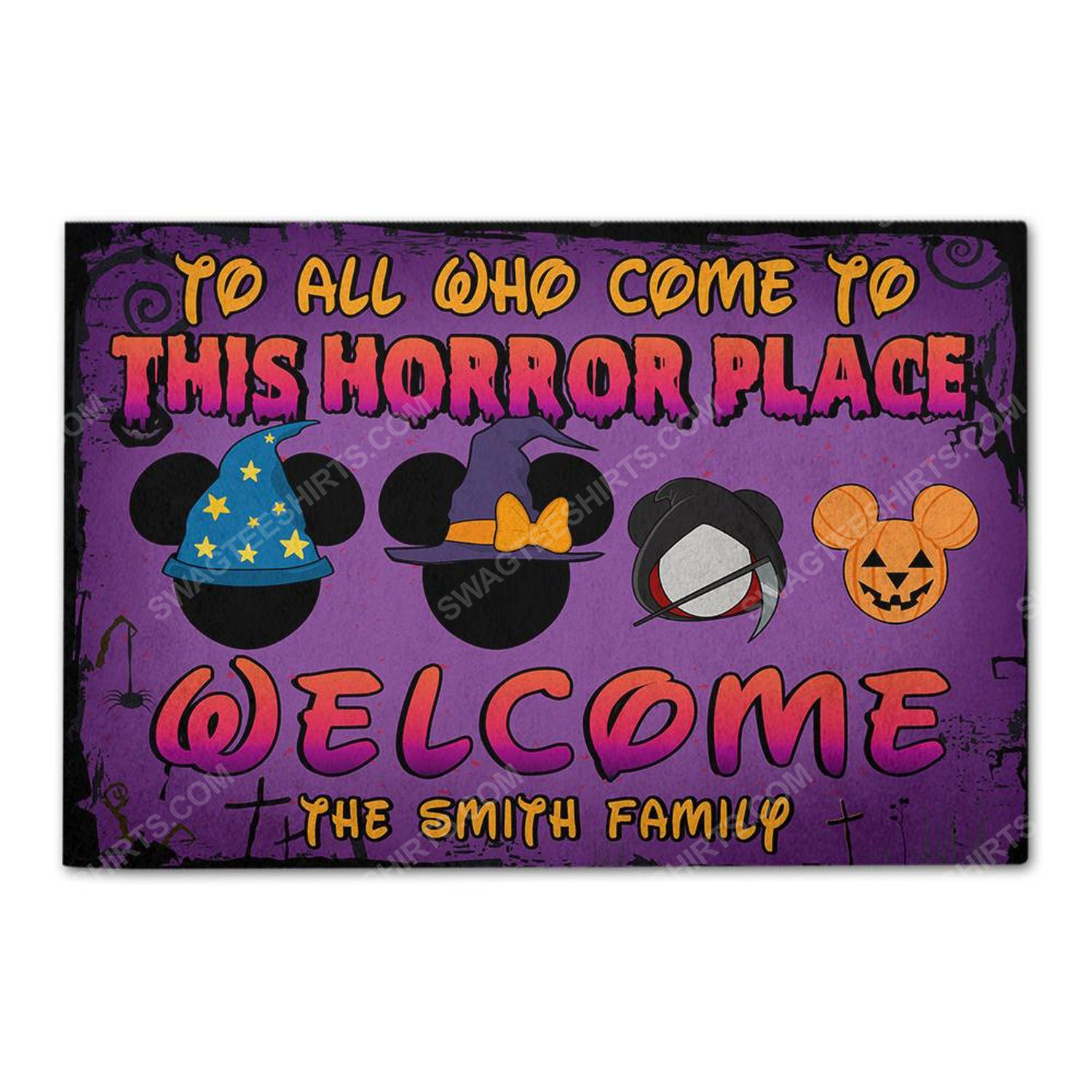 Custom halloween for family to all who come to this horror place doormat 2