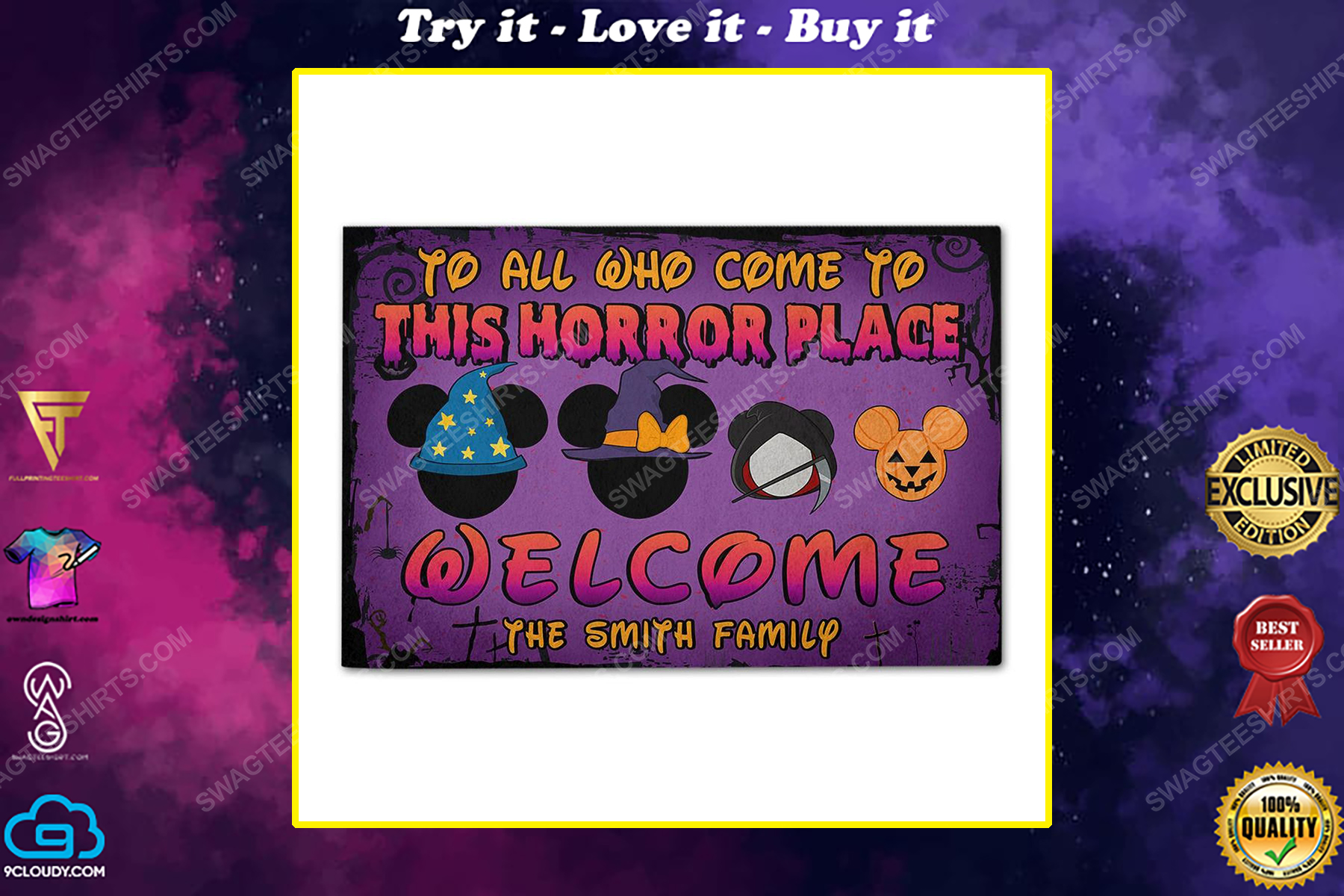 Custom halloween for family to all who come to this horror place doormat