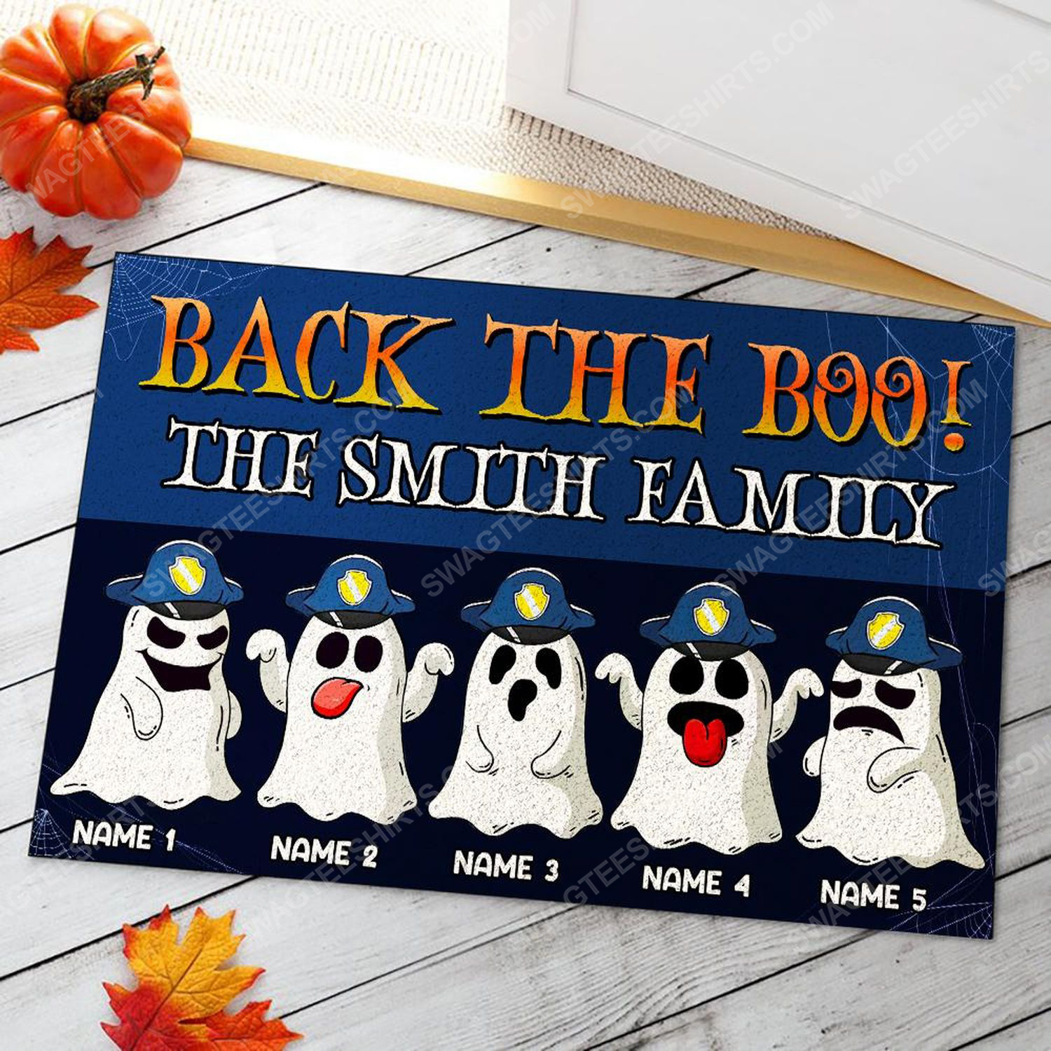 Custom halloween for police family back the boo doormat 2