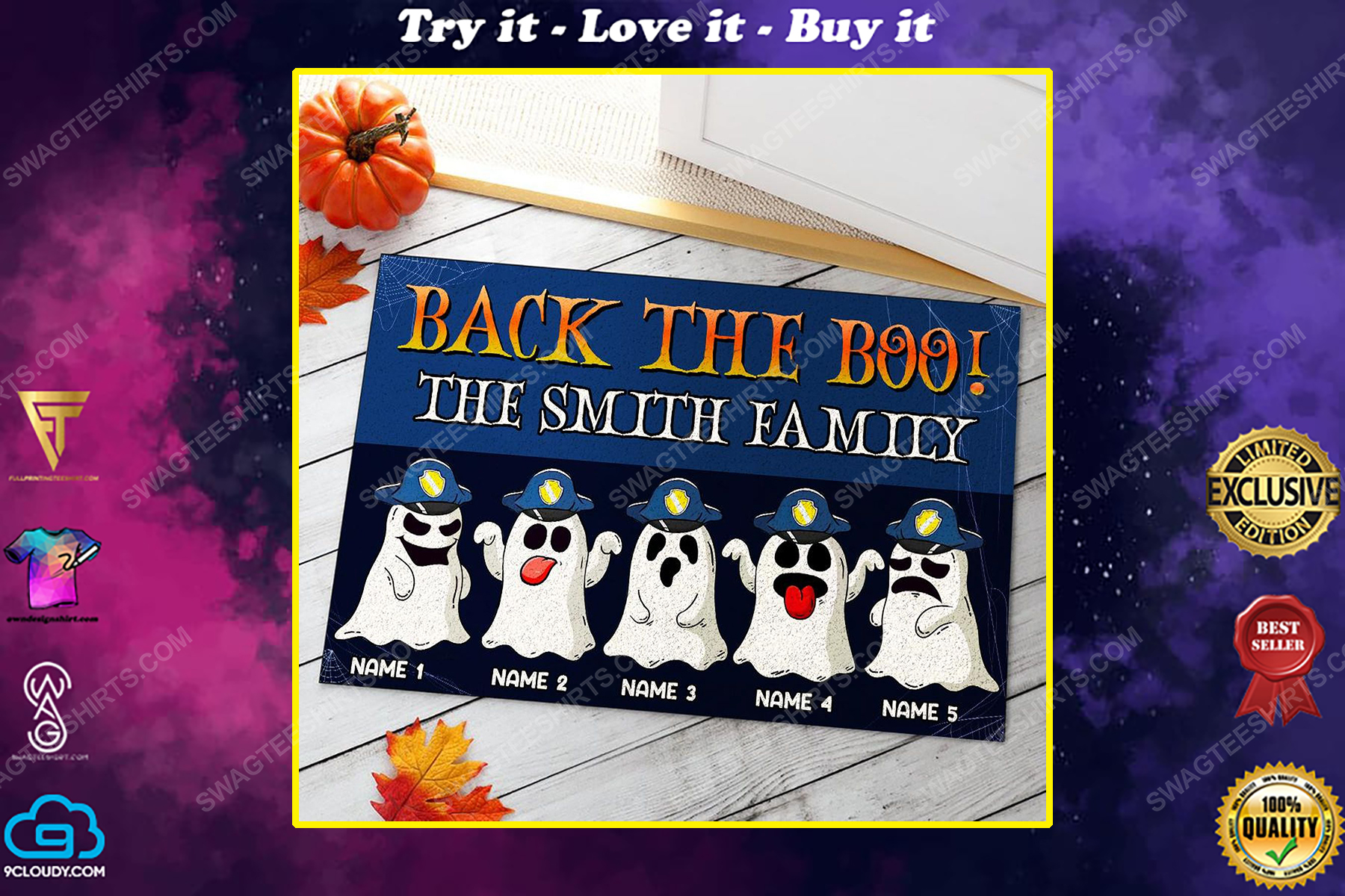 Custom halloween for police family back the boo doormat