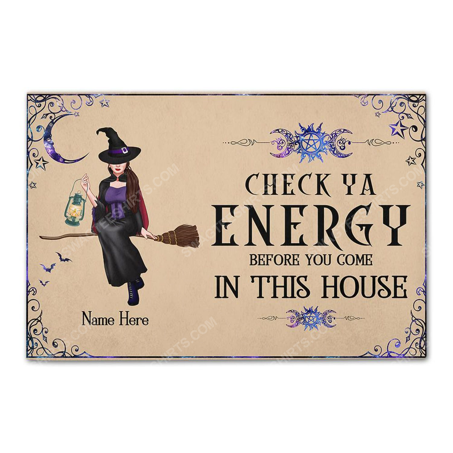 Custom halloween for witch girl check ya energy before you come in this house doormat 2