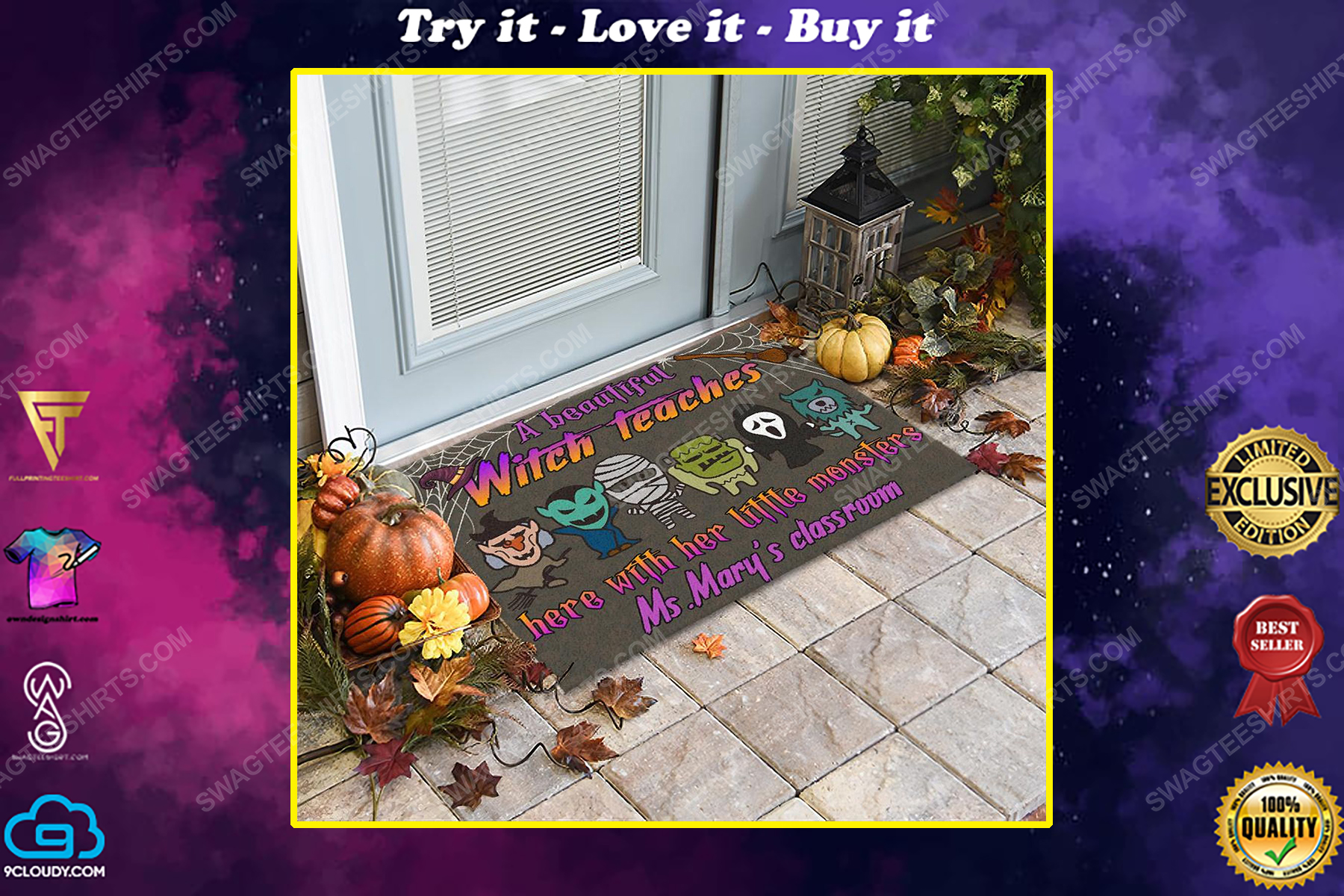 Custom halloween for witch teacher a beautiful witch teaches here with her little monsters doormat