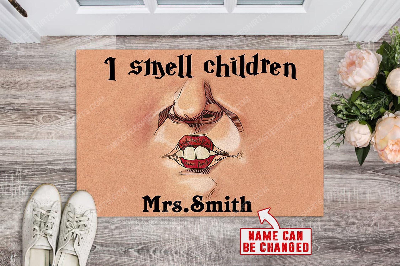Custom halloween teacher hocus pocus i smell children doormat 2