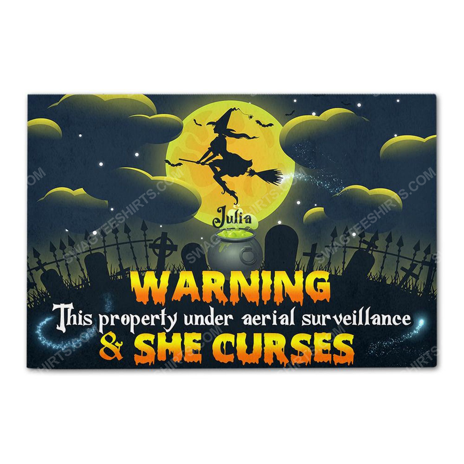 Custom witch warning property under aerial surveillance and she curses doormat 2
