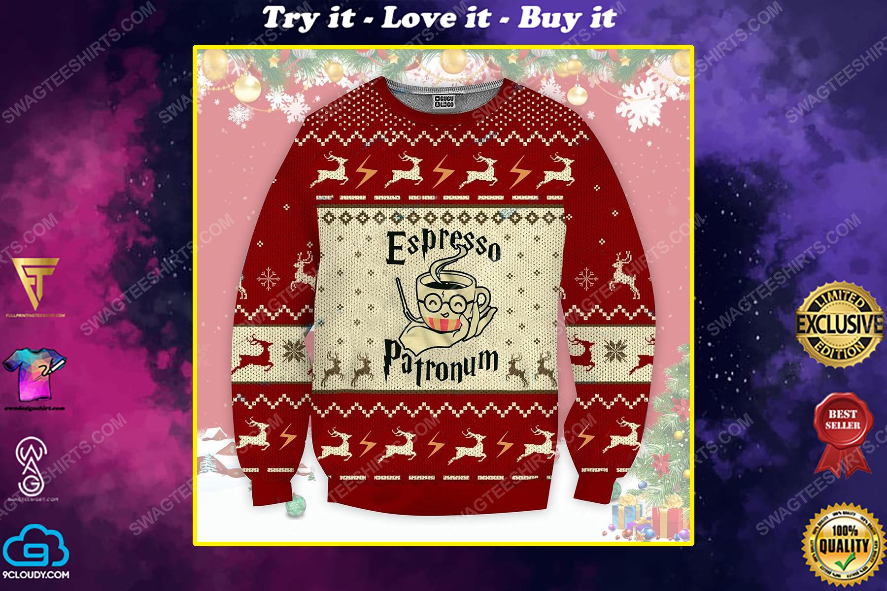 Espresso patronum magical coffee mug harry potter ugly christmas sweater 1