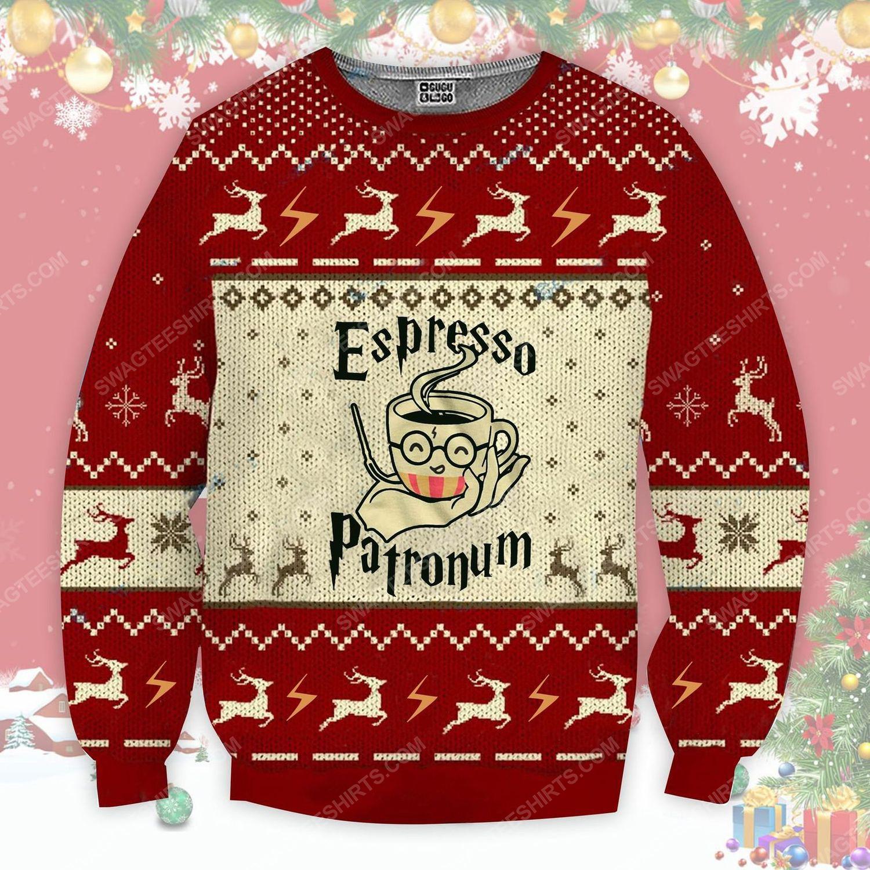 Espresso patronum magical coffee mug harry potter ugly christmas sweater