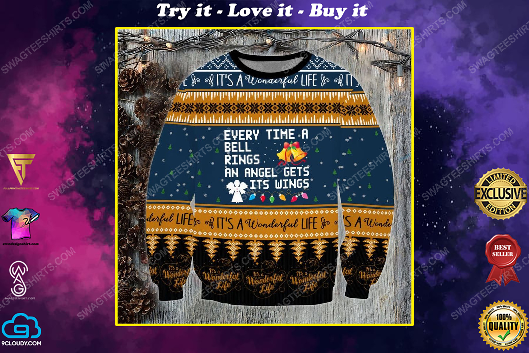 Every time the bell rings an angel gets his wings ugly christmas sweater 1