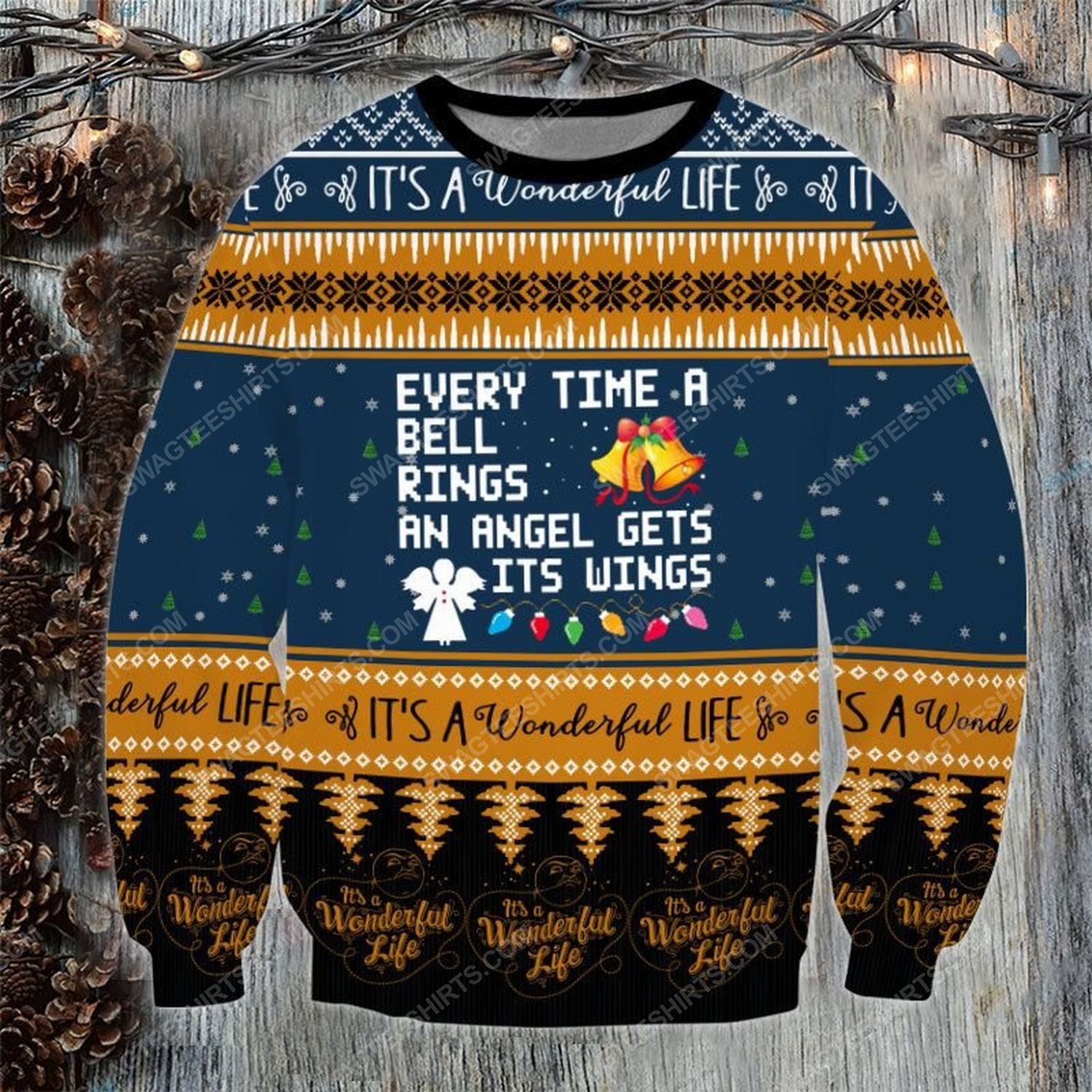 Every time the bell rings an angel gets his wings ugly christmas sweater - Copy