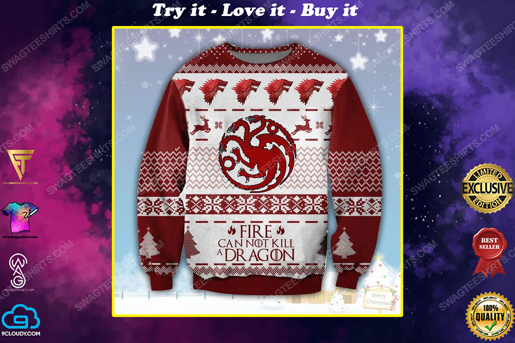Game of thrones fire cannot kill a dragon ugly christmas sweater 1