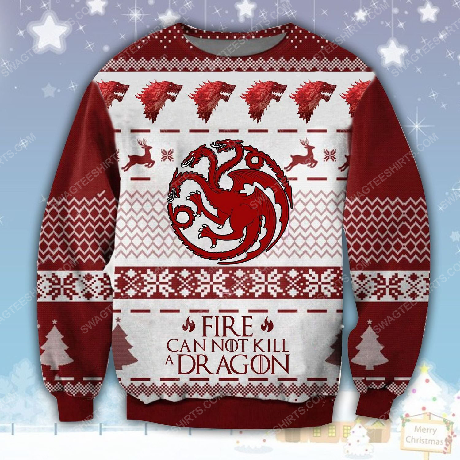 Game of thrones fire cannot kill a dragon ugly christmas sweater - Copy