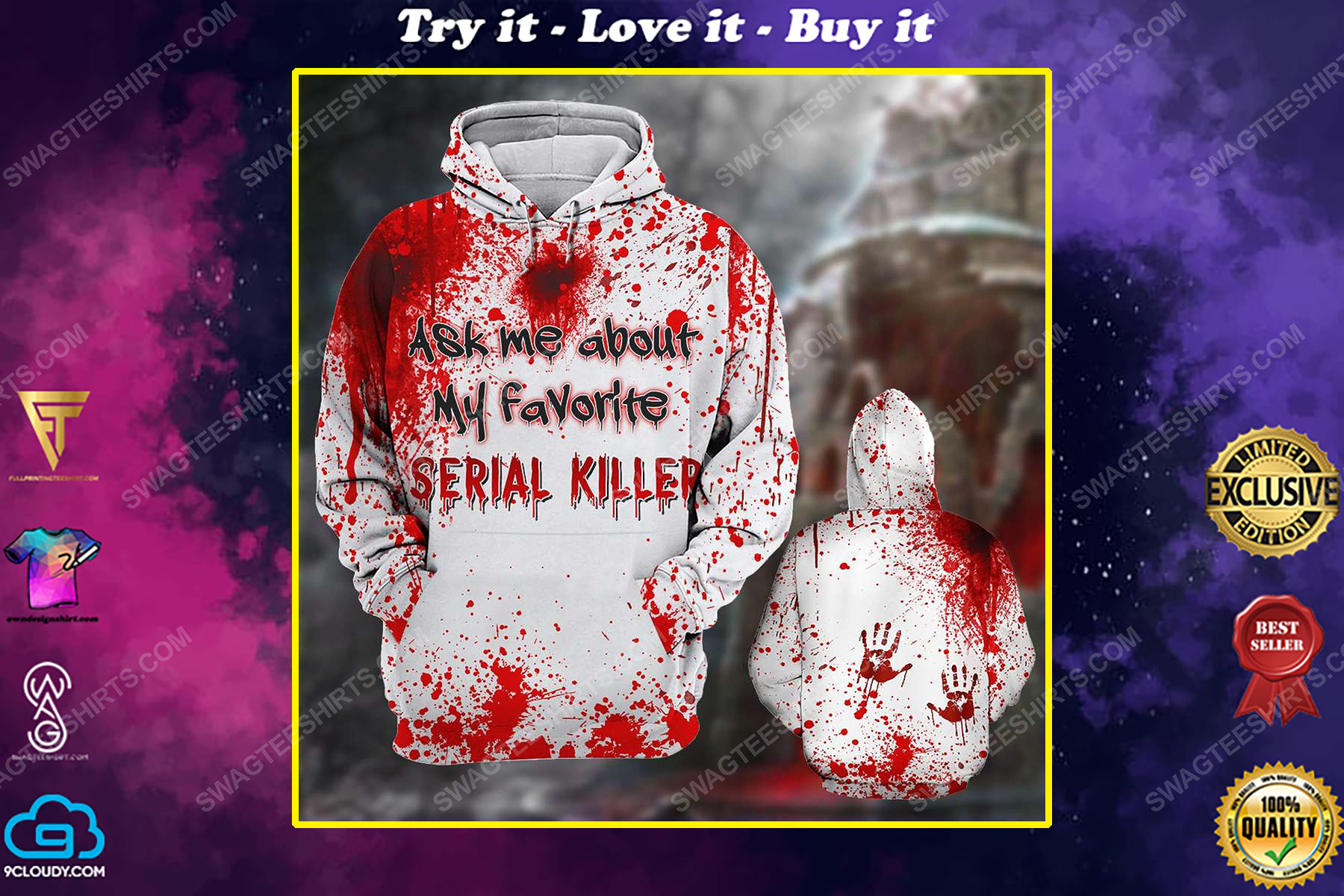Halloween blood ask me about my favorite serial killer shirt