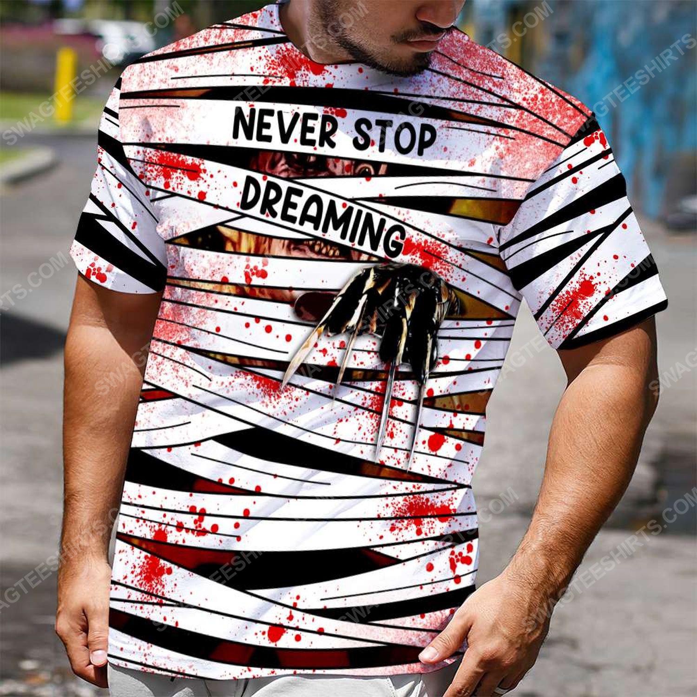 Halloween blood freddy's nightmares never stop dreaming shirt 2