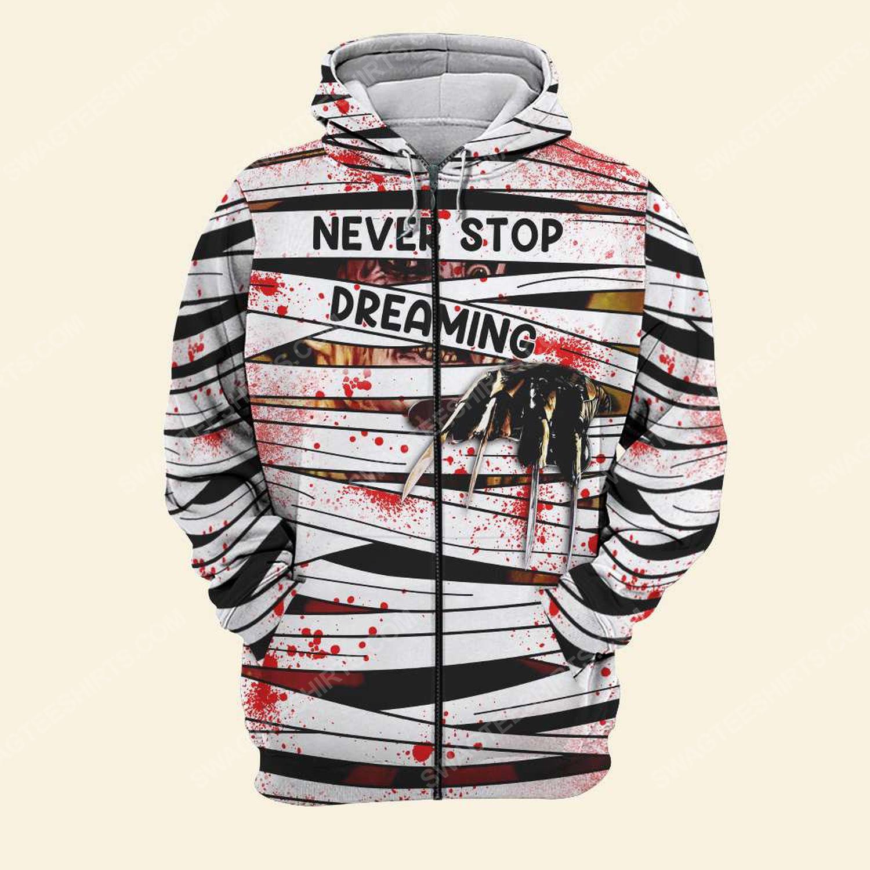 Halloween blood freddy's nightmares never stop dreaming zip hoodie