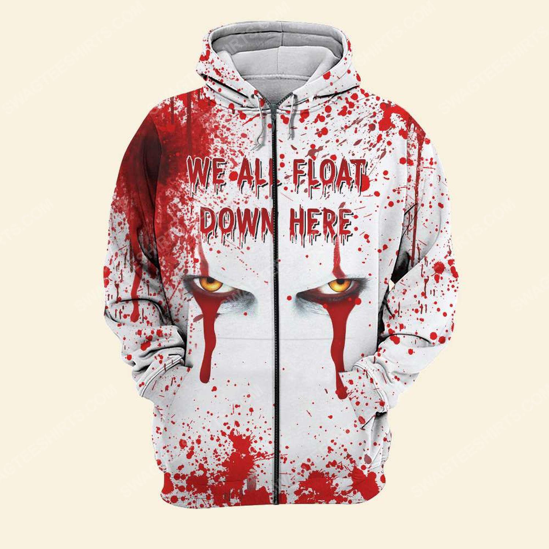 Halloween blood pennywise we all float down here zip hoodie