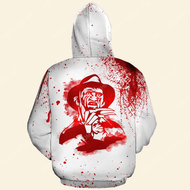 Halloween blood whatever you do don't fall asleep freddy full print hoodie - back