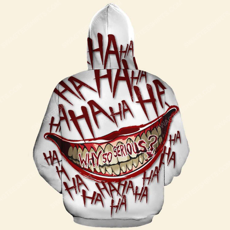 Halloween blood why so serious joker full print hoodie - back