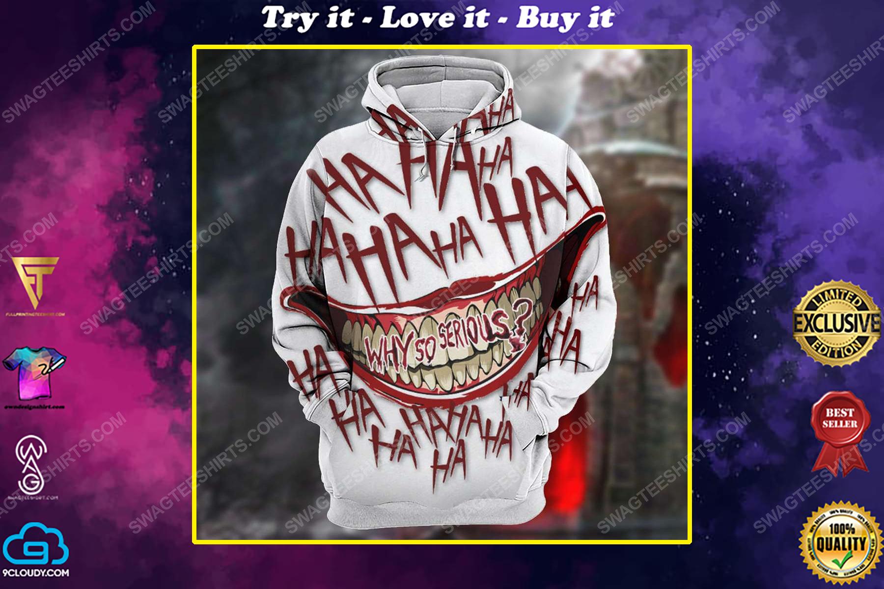 Halloween blood why so serious joker full print shirt 1