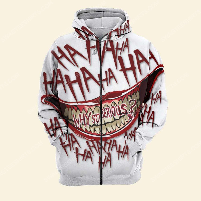 Halloween blood why so serious joker full print zip hoodie