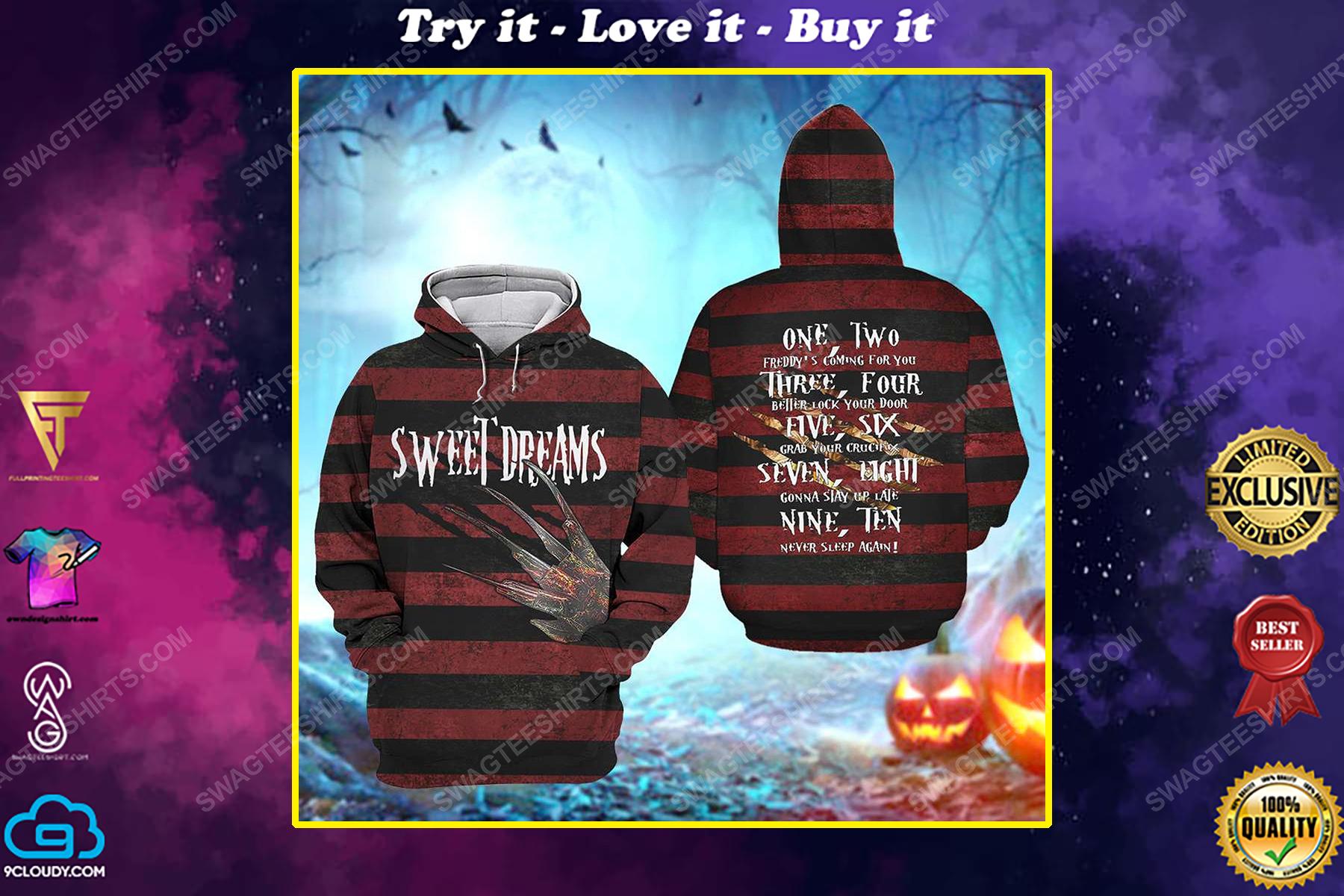 Halloween freddy's nightmares sweet dreams all over print shirt
