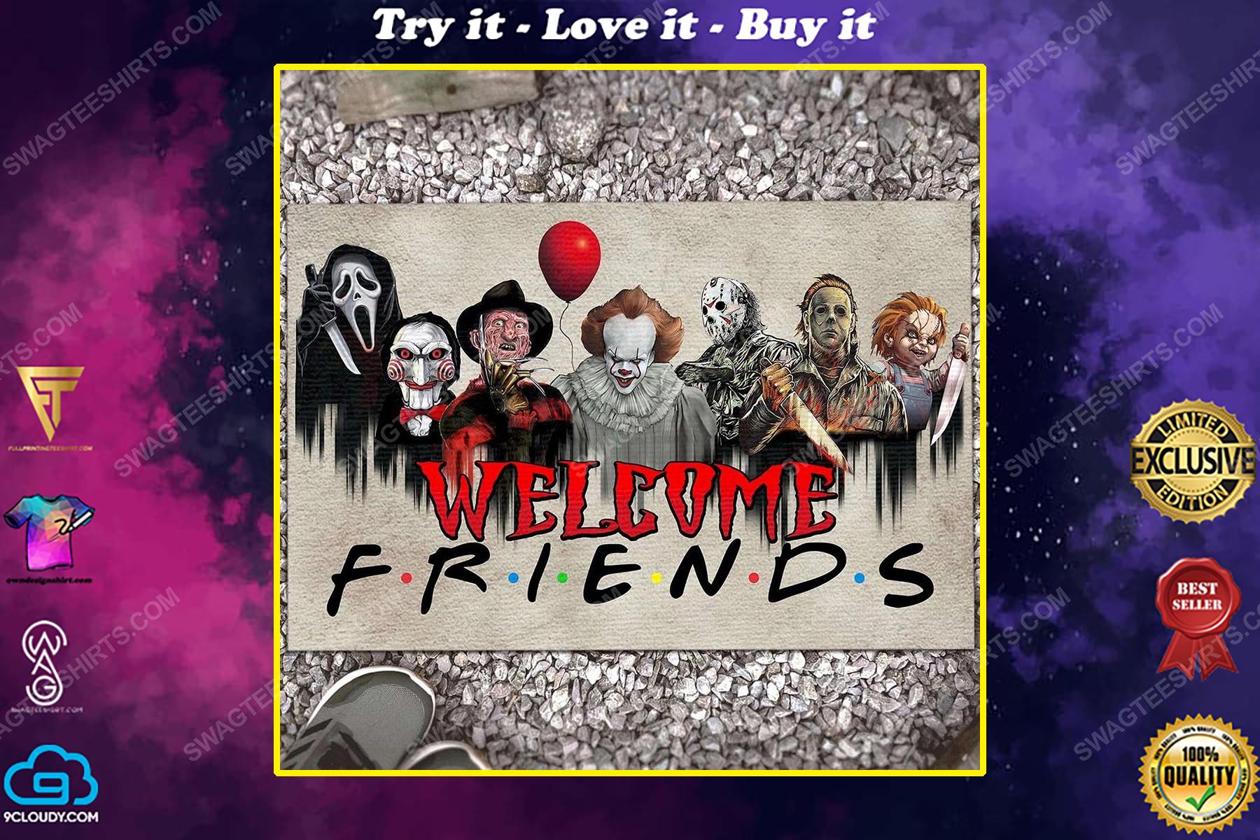 Halloween welcome friends horror characters movies doormat