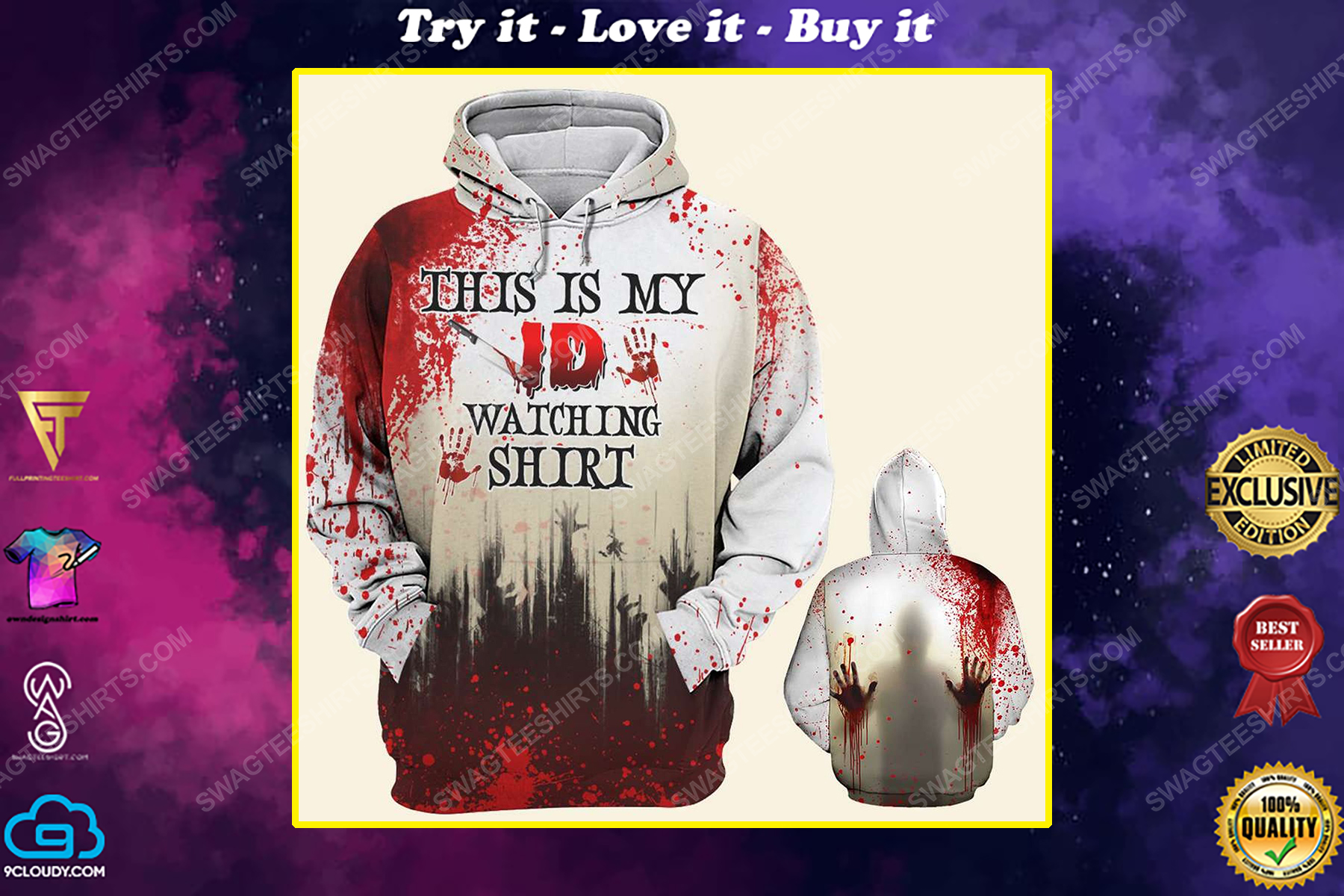 Halloween with blood crime this is my watching id shirt