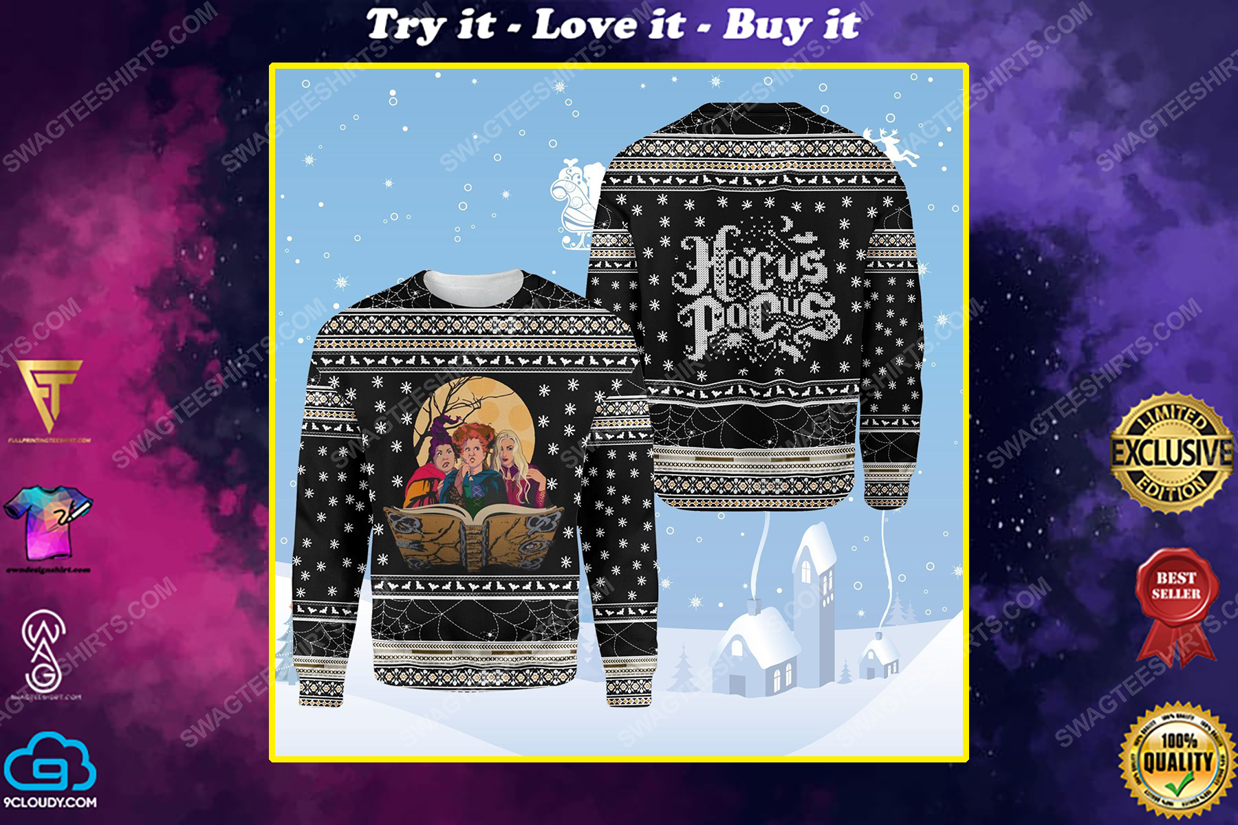 Hocus pocus witches ugly christmas sweater 1
