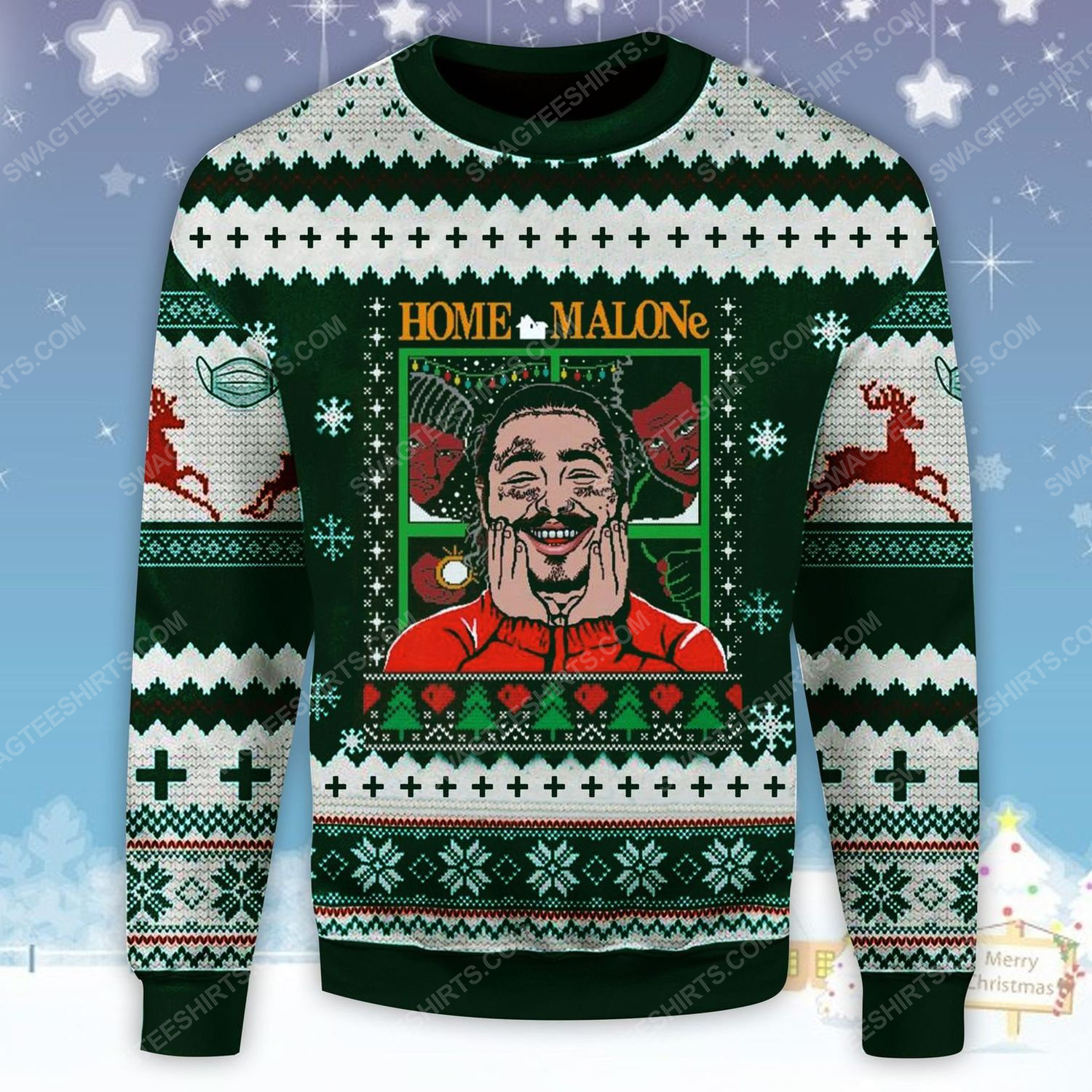 Home alone post malone ugly christmas sweater - Copy (2)