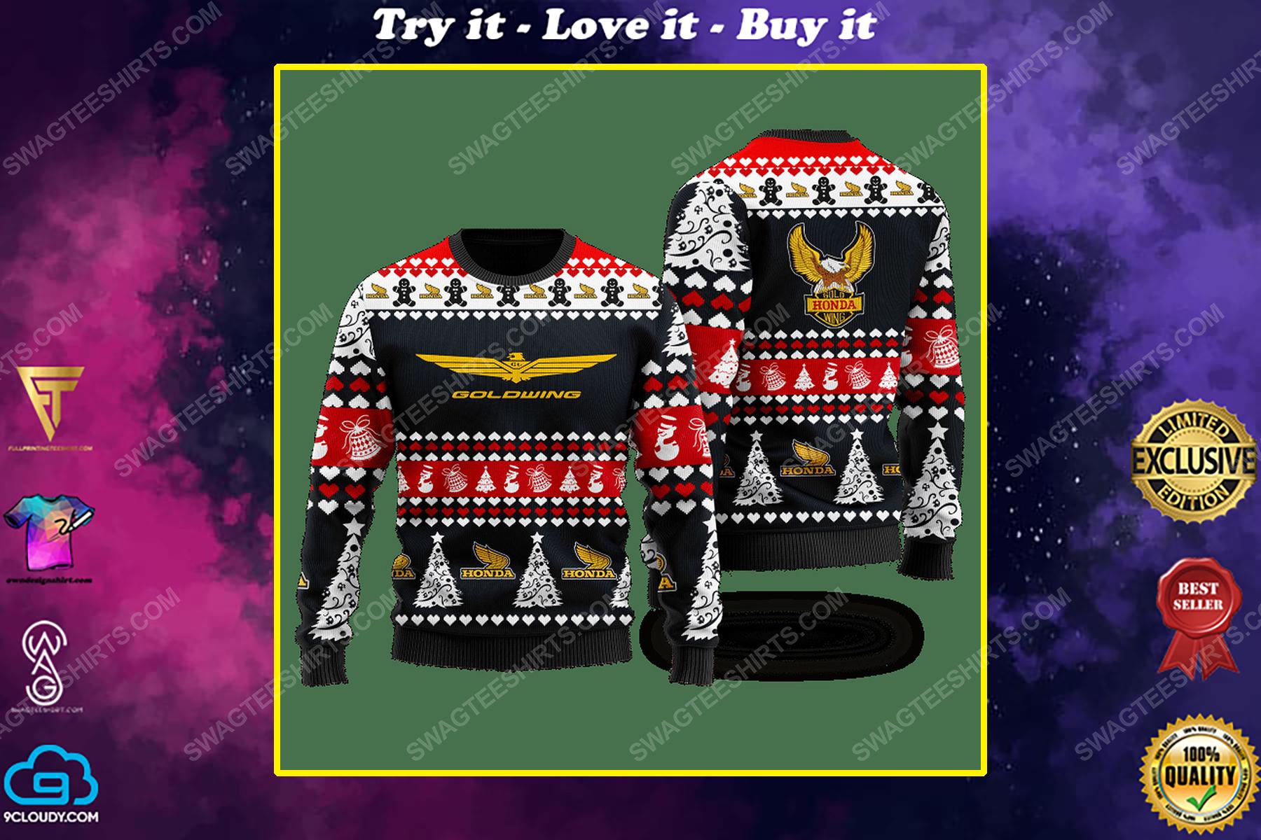 Honda gold wing racing ugly christmas sweater 1