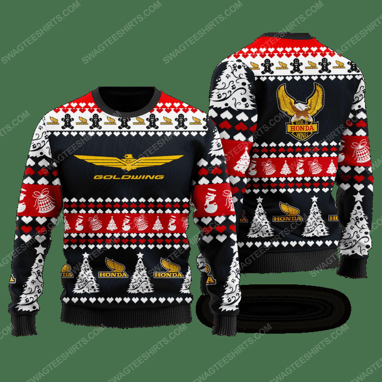Honda gold wing racing ugly christmas sweater - black