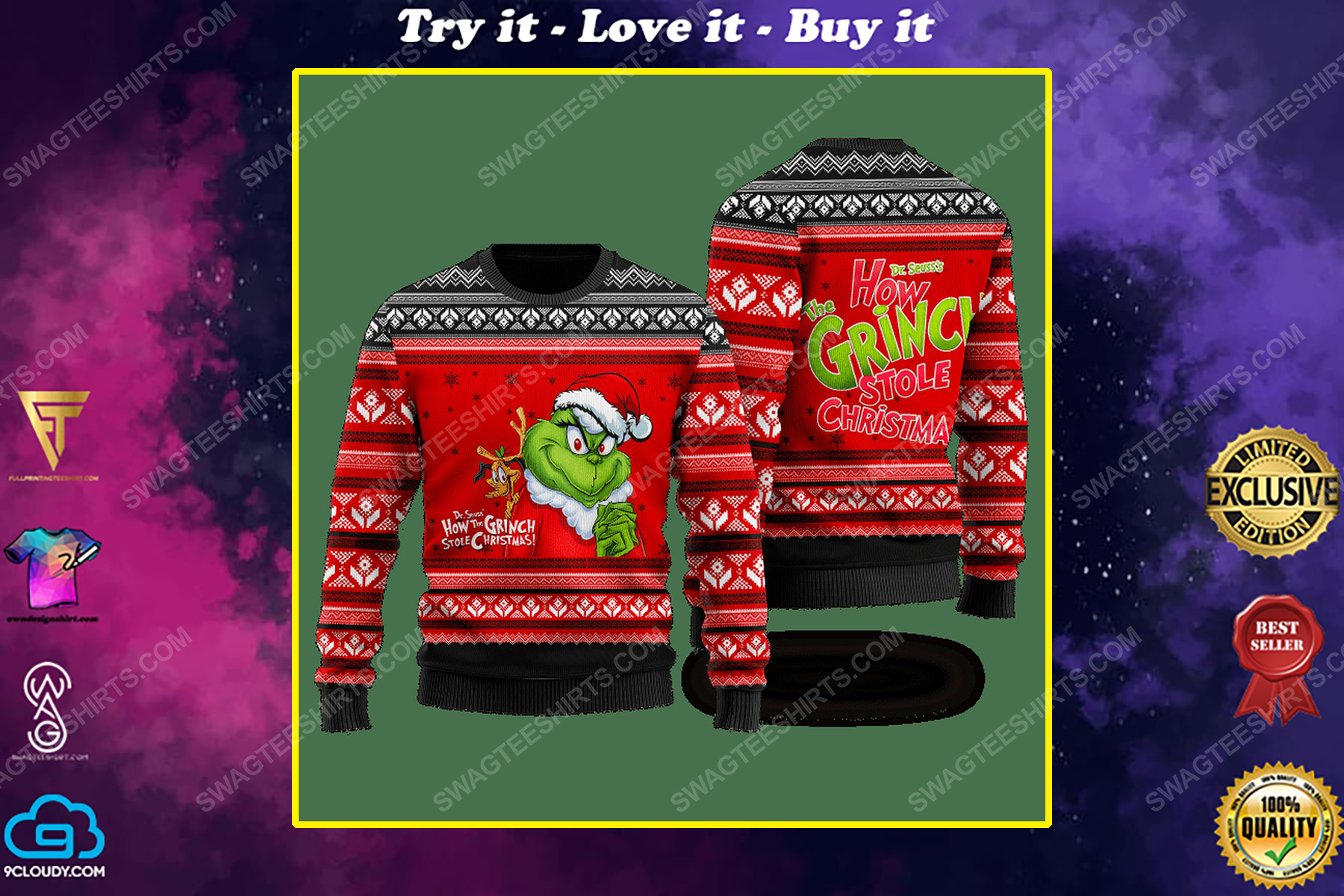 How grinch stole christmas ugly christmas sweater 1