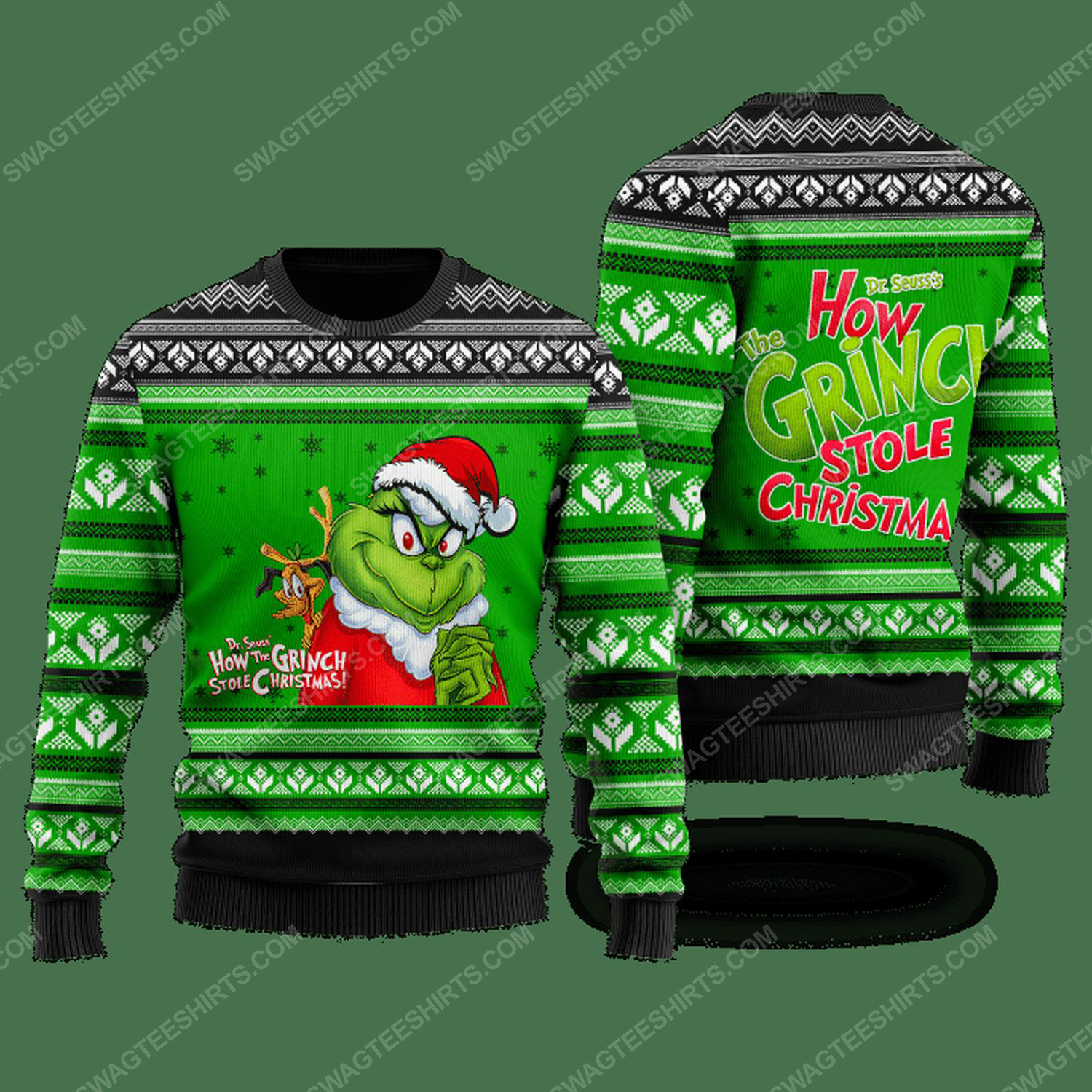 How grinch stole christmas ugly christmas sweater - green - Copy