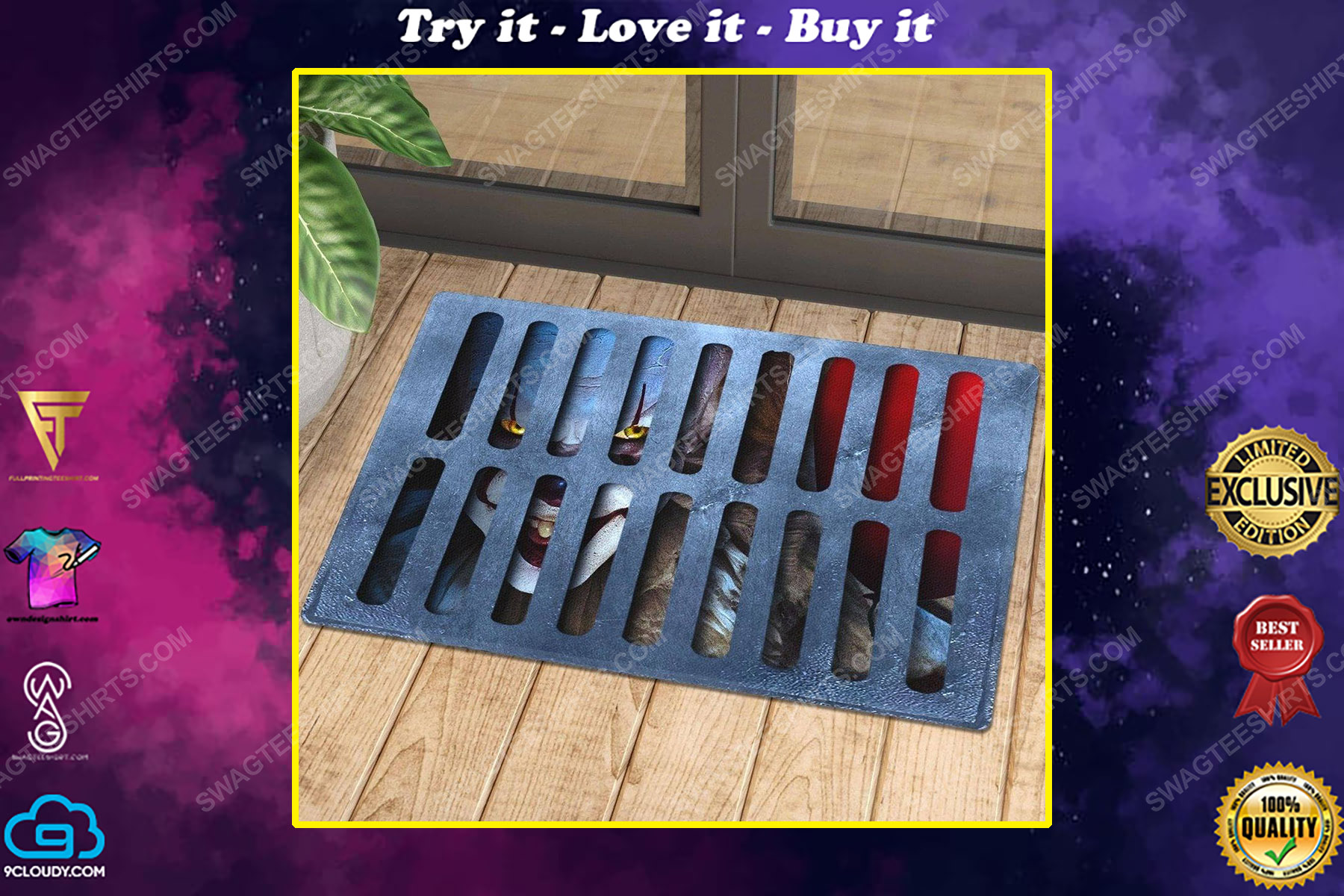 It pennywise horror clown under drain cover doormat