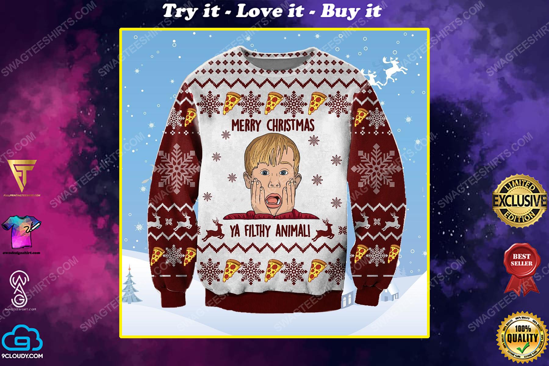 Merry christmas ya filthy animal home alone ugly christmas sweater 1