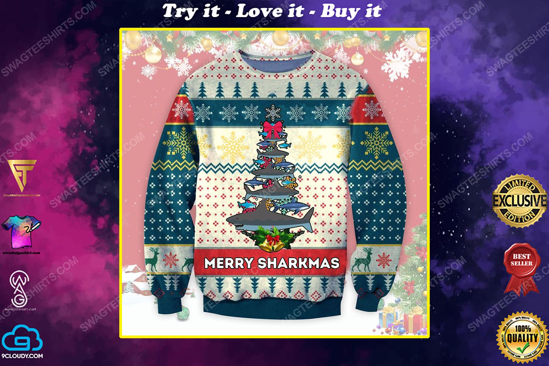 Merry sharkmas shark christmas tree ugly christmas sweater 1