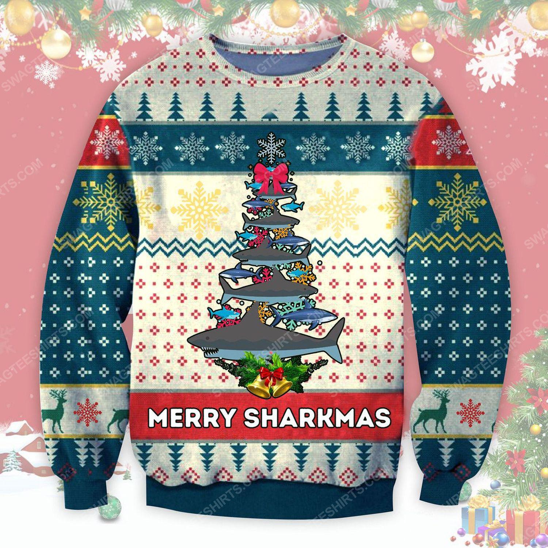 Merry sharkmas shark christmas tree ugly christmas sweater - Copy